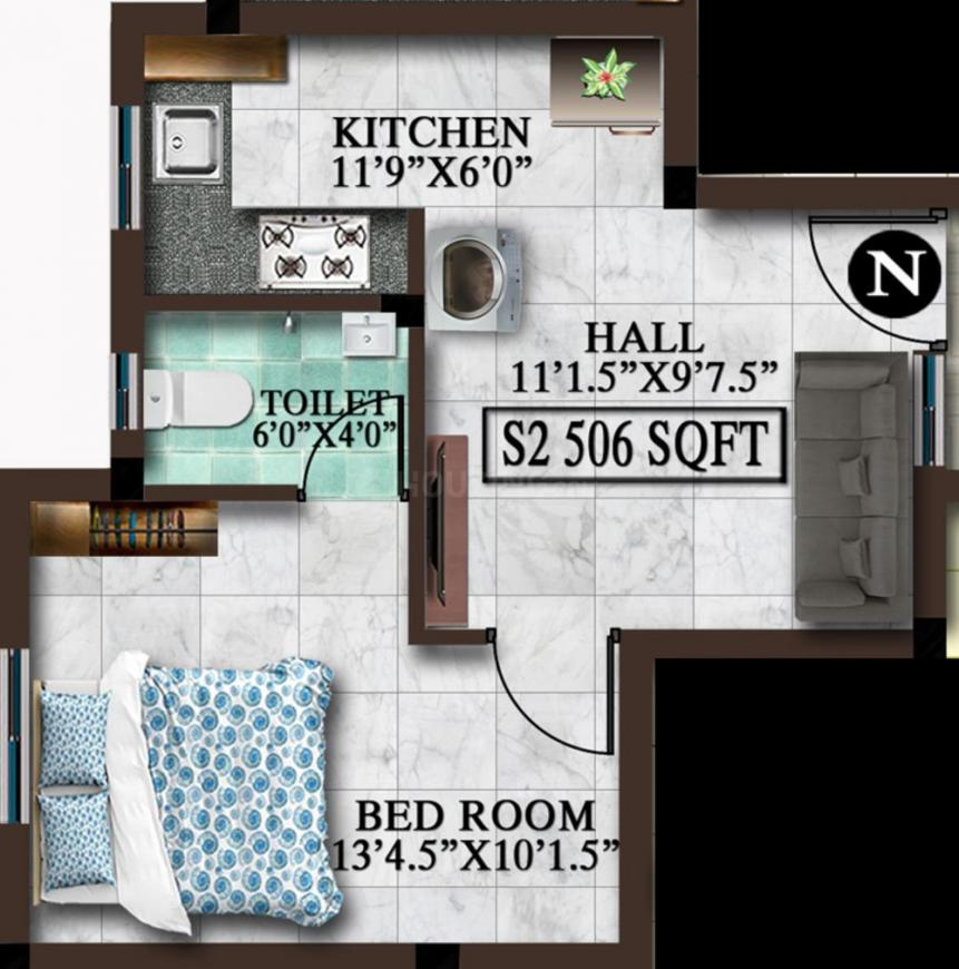 MP Avni Floor Plan: 1 BHK Unit with Built up area of 506 sq.ft 1