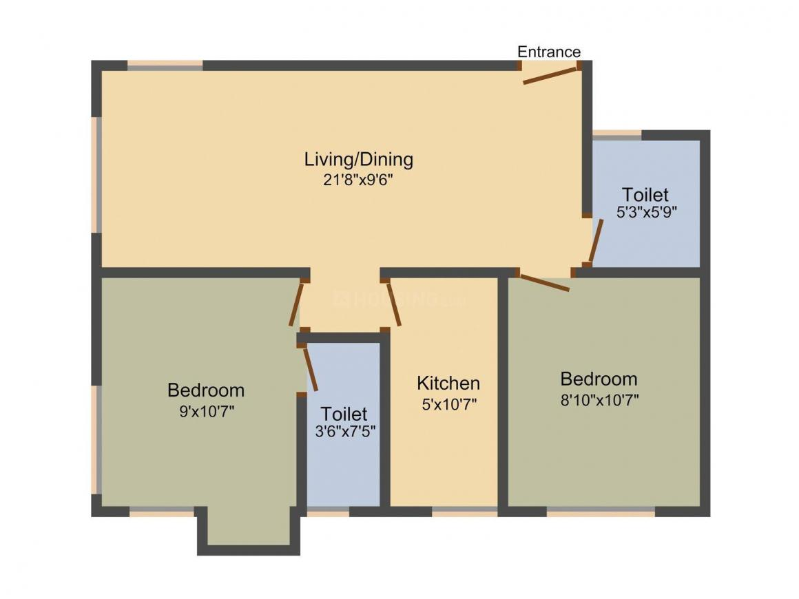 Floor Plan Image of 834 - 1260 Sq.ft 1 BHK Apartment for buy in Mck Paramount