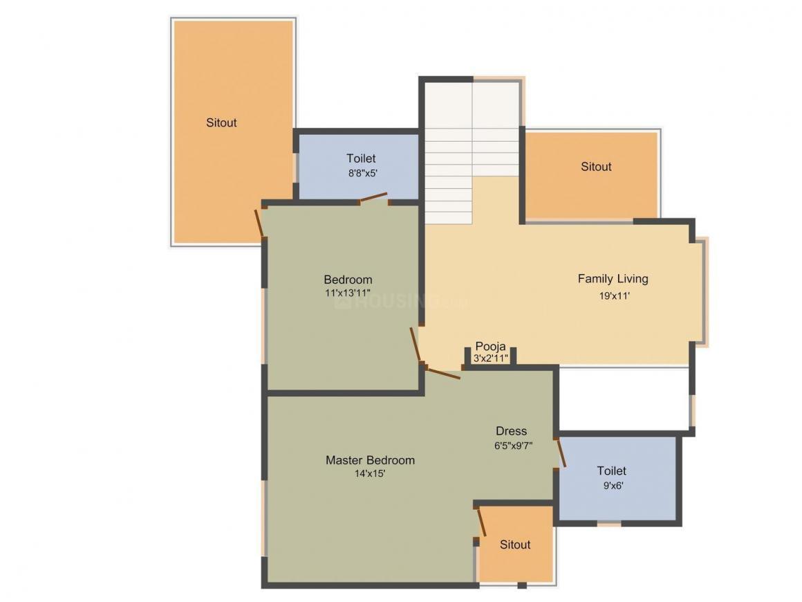 Voora Villa 96 Floor Plan: 1 BHK Unit with Built up area of 2444 sq.ft 1