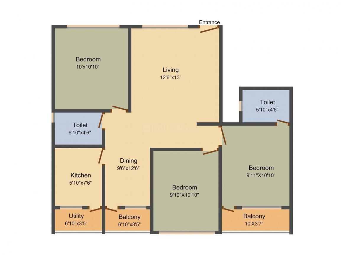Floor Plan Image of 1025 - 1300 Sq.ft 2 BHK Apartment for buy in Dreamz Siddhi Vinayak
