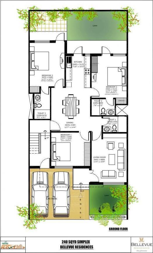 Vatika Bellevue Residences Floor Plan: 3 BHK Unit with Built up area of 2160 sq.ft 2