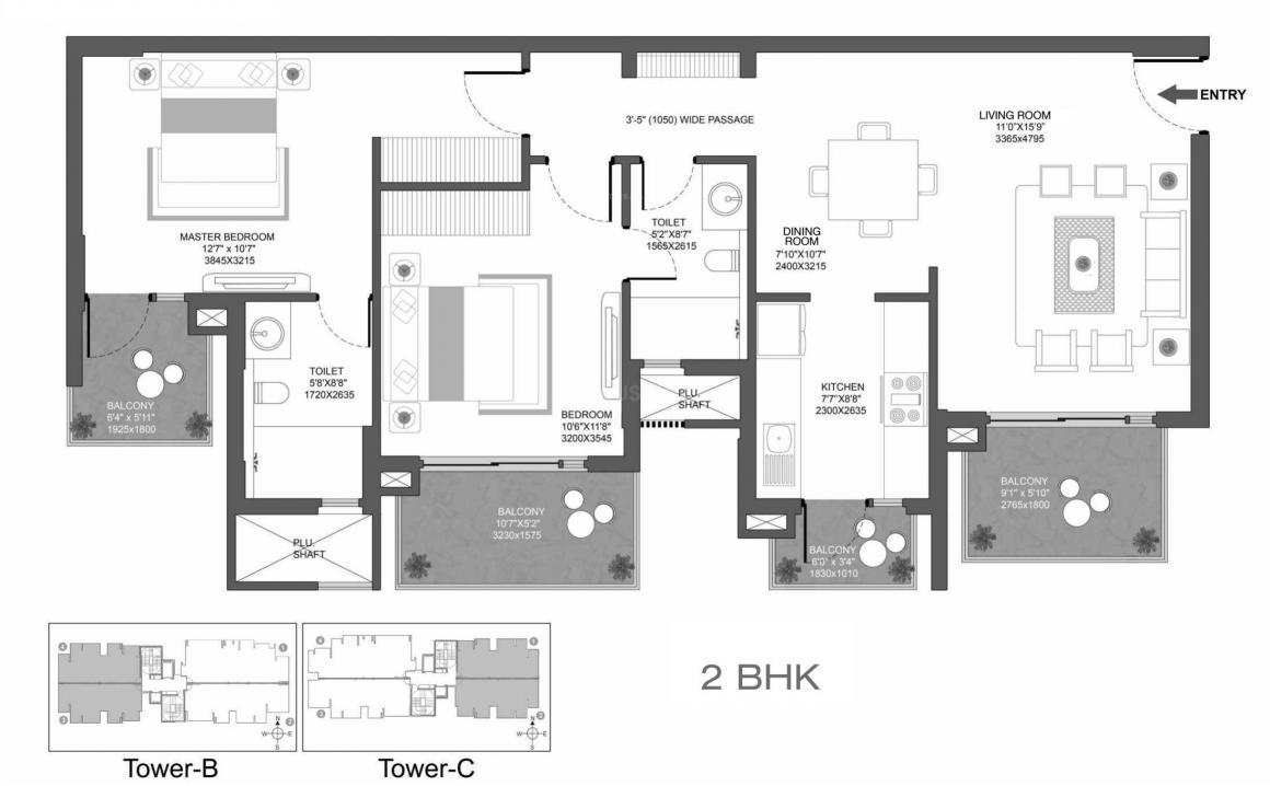 Godrej Oasis Floor Plan: 2 BHK Unit with Built up area of 775 sq.ft 1
