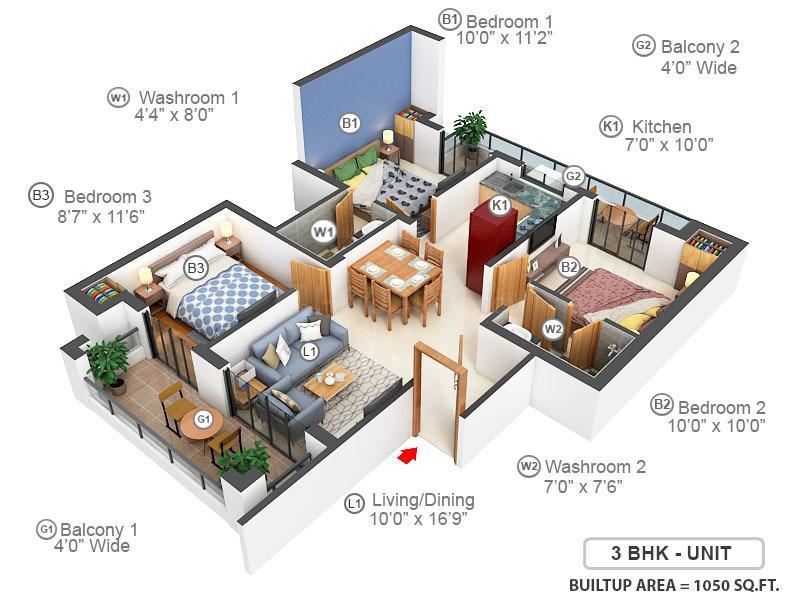 BPTP Parklands Pride Floor Plan: 3 BHK Unit with Built up area of 1050 sq.ft 1