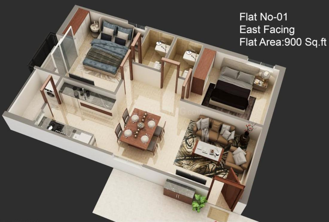 SSD Aditya Nest Floor Plan: 2 BHK Unit with Built up area of 900 sq.ft 1