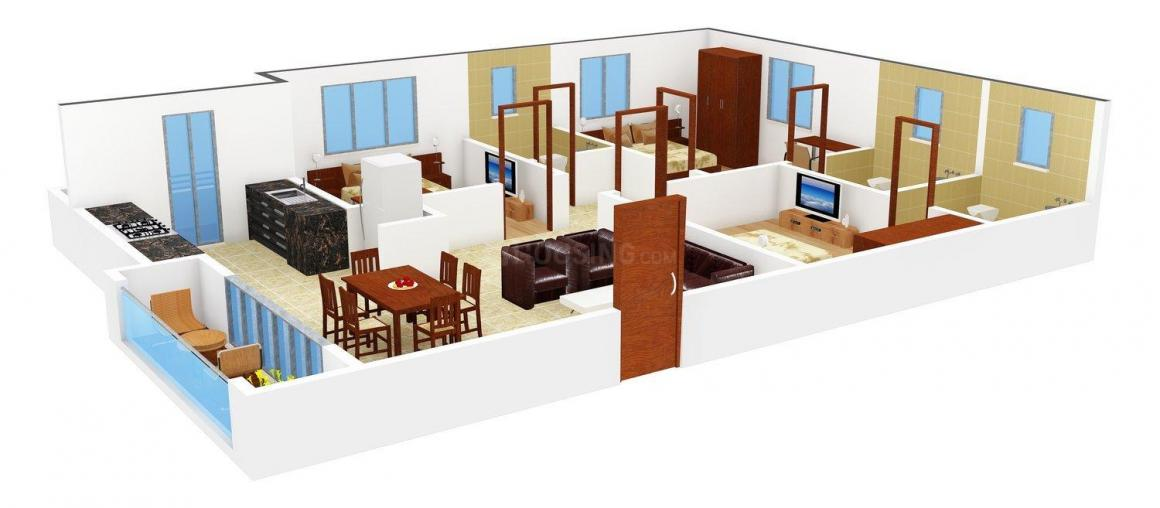 Floor Plan Image of 1616.0 - 1675.0 Sq.ft 3 BHK Apartment for buy in Happy Homes Temple Tree