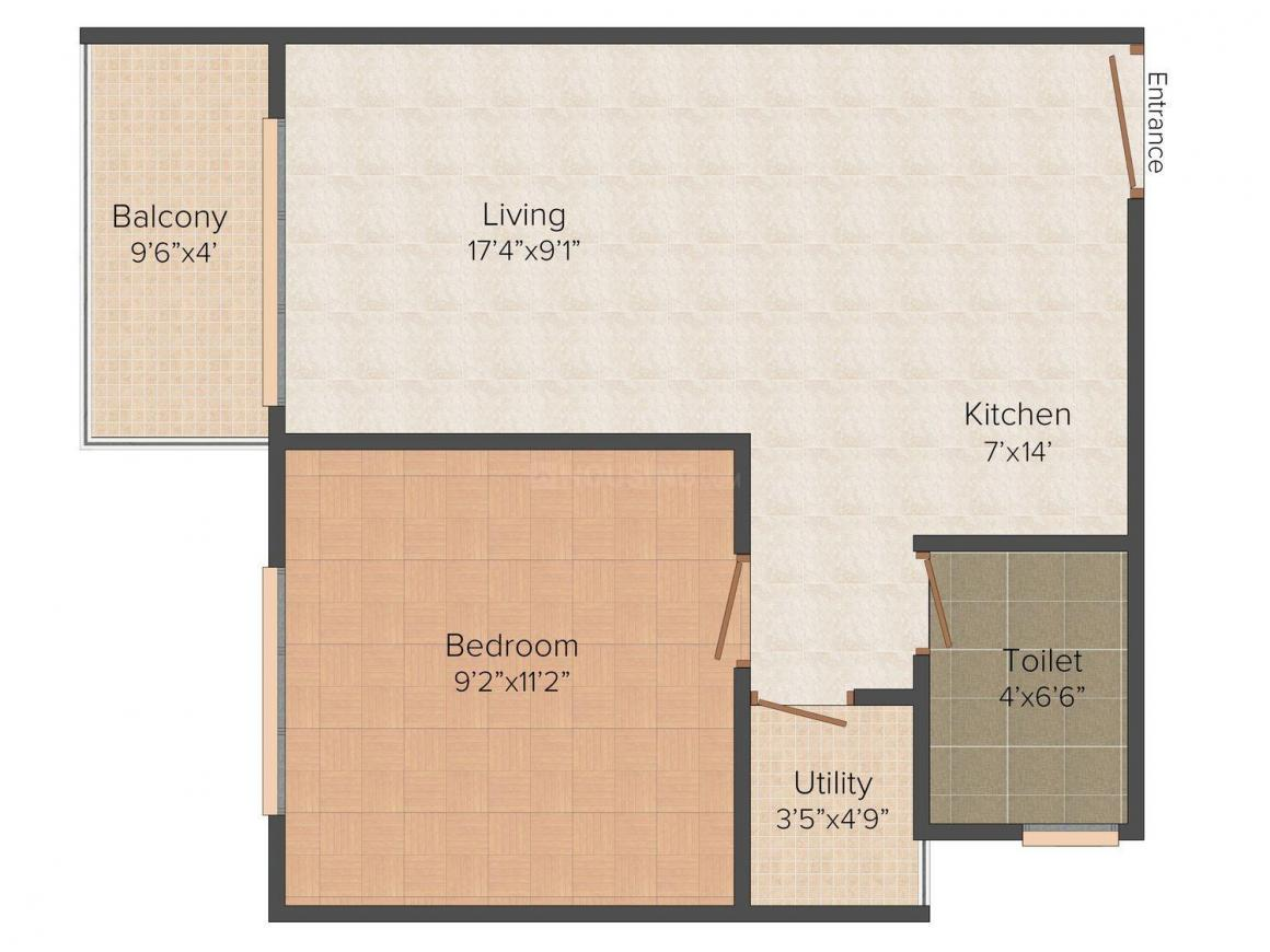 Floor Plan Image of 0 - 530 Sq.ft 1 BHK Apartment for buy in RVC Lavender