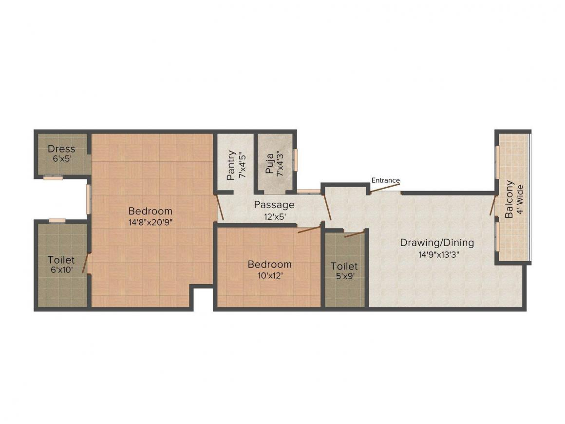 Tyagi Floors C 715 Floor Plan: 2 BHK Unit with Built up area of 630 sq.ft 1