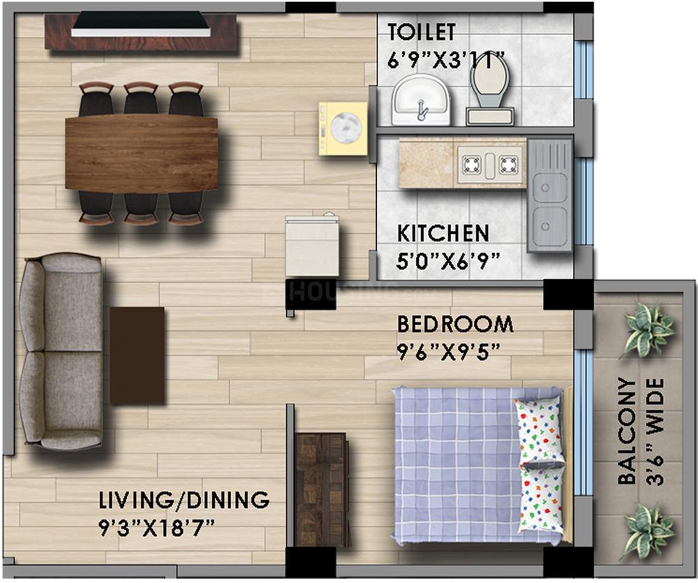 B S Housing Pragati Dham Floor Plan: 1 BHK Unit with Built up area of 563 sq.ft 1