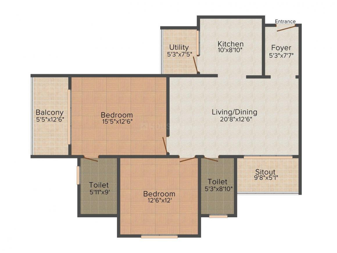 Floor Plan Image of 1342.0 - 3583.0 Sq.ft 2 BHK Apartment for buy in Sobha Habitech