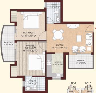 Shree Vardhman Gardenia Floor Plan: 2 BHK Unit with Built up area of 930 sq.ft 1
