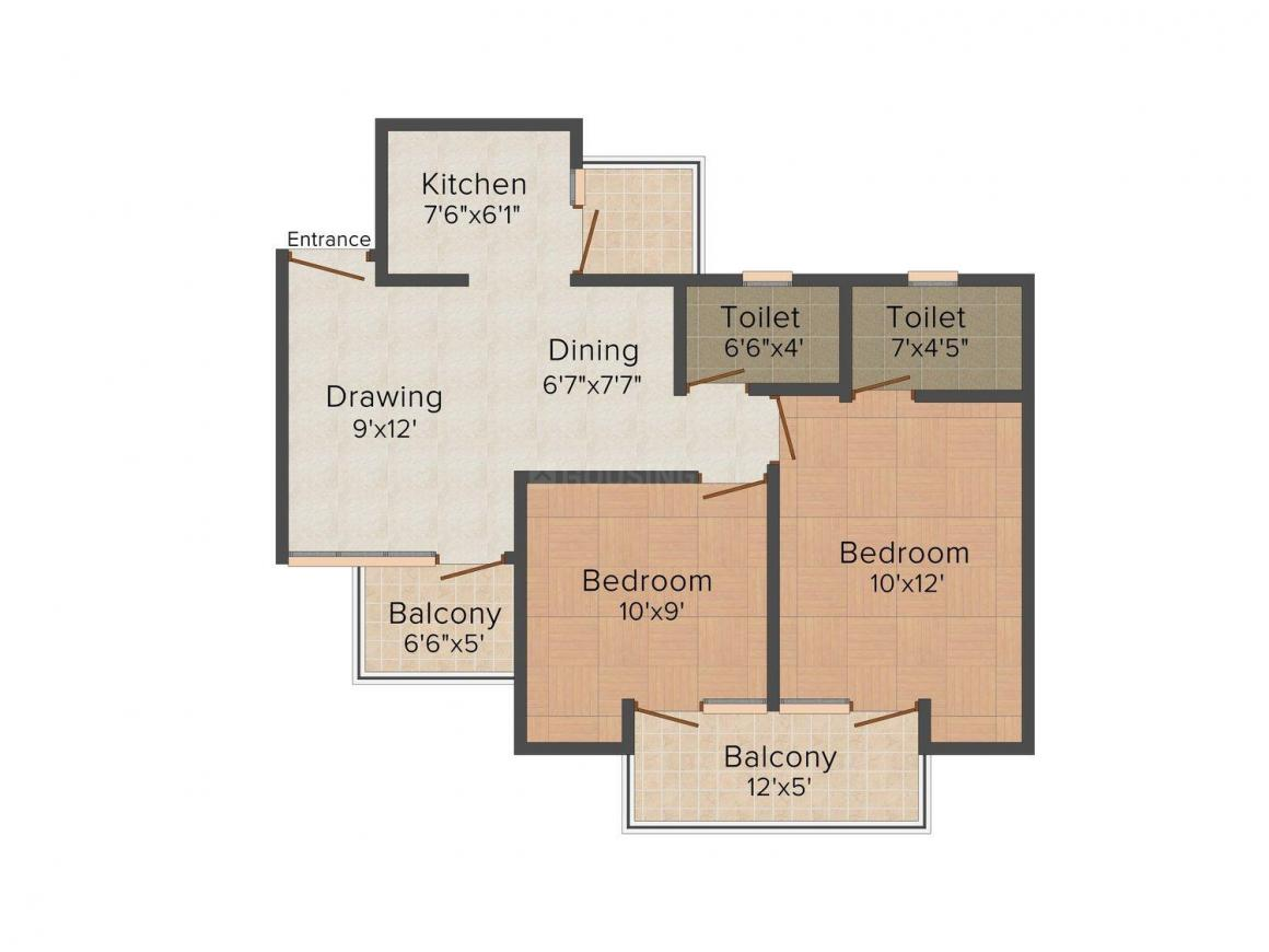CRC Mantra Happy Homes Floor Plan: 2 BHK Unit with Built up area of 750 sq.ft 1