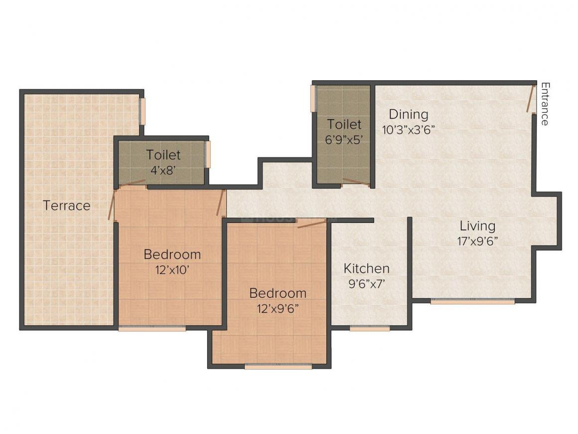 Floor Plan Image of 575 - 1750 Sq.ft 1 BHK Apartment for buy in Agarwal Doshi Complex