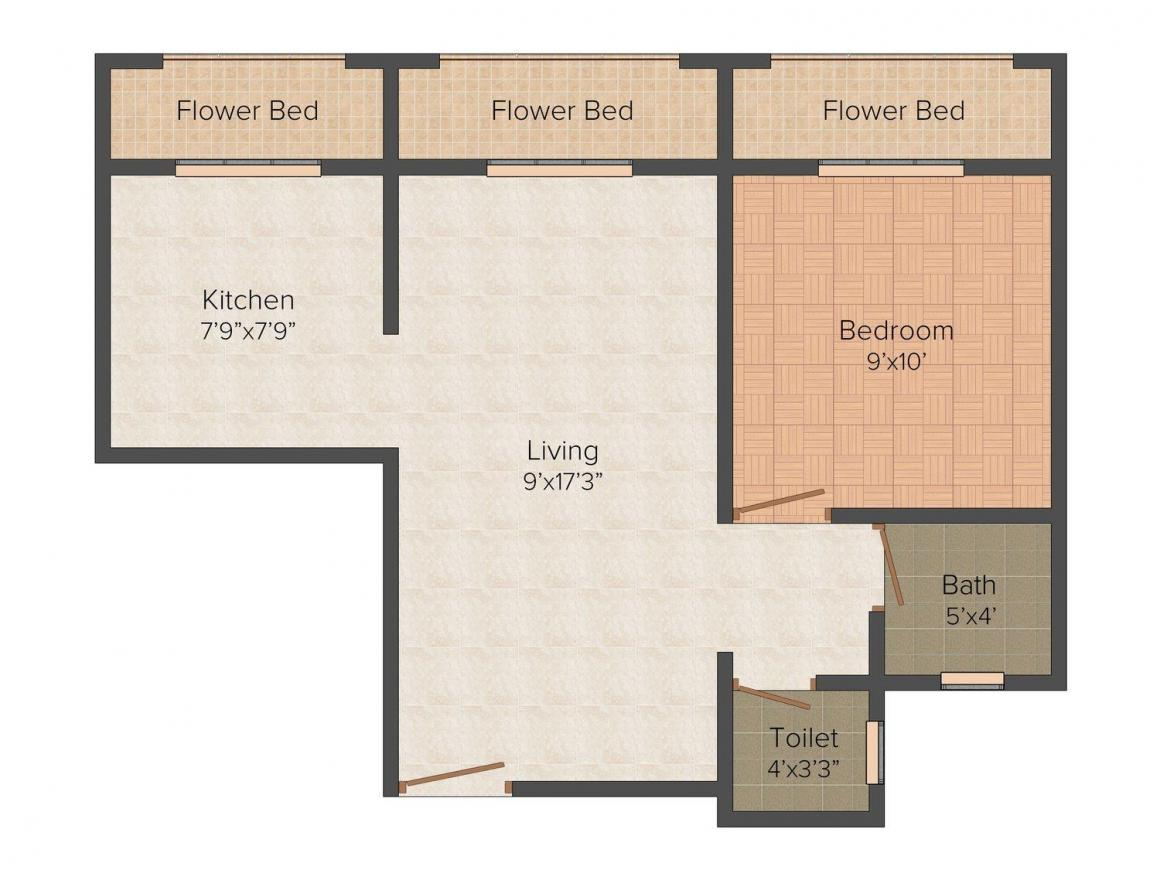 Floor Plan Image of 575 - 925 Sq.ft 1 BHK Apartment for buy in Nestle Heights