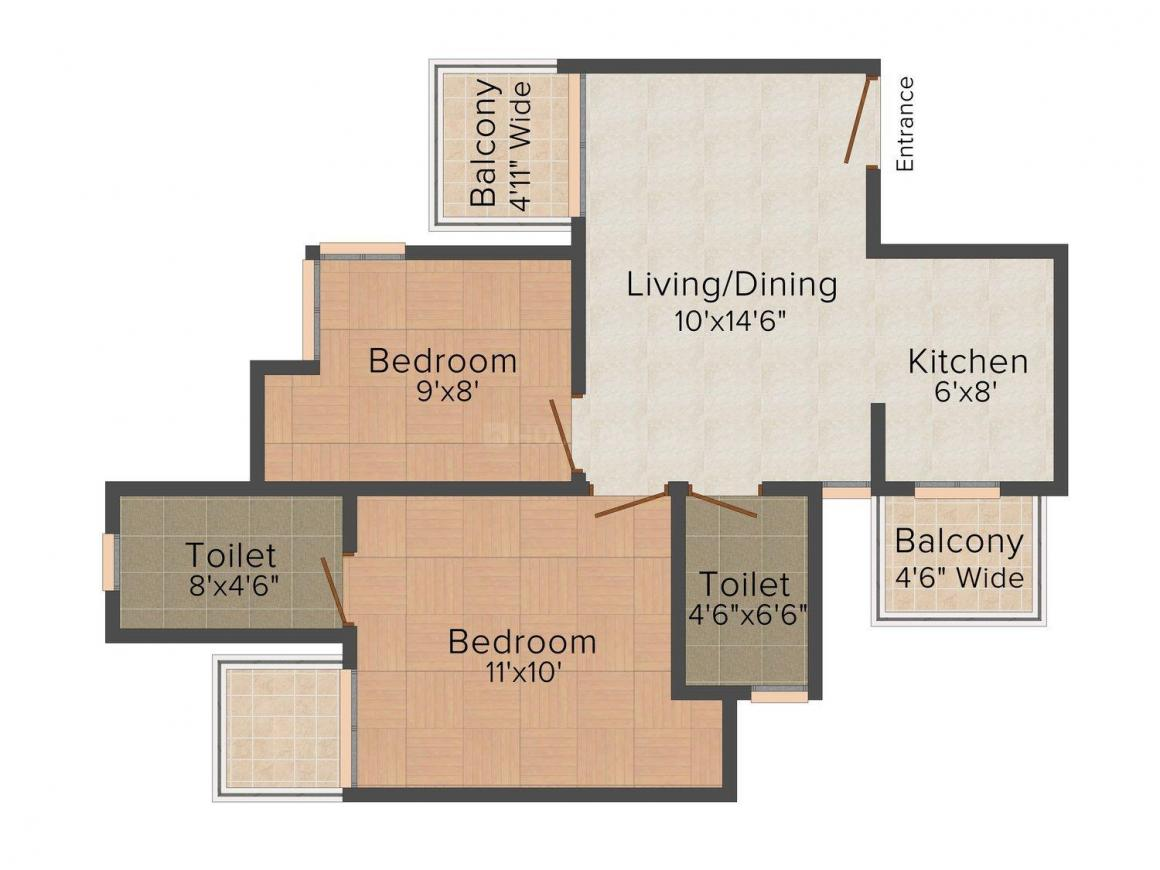 Prateek Grand Paeonia Floor Plan: 2 BHK Unit with Built up area of 770 sq.ft 1