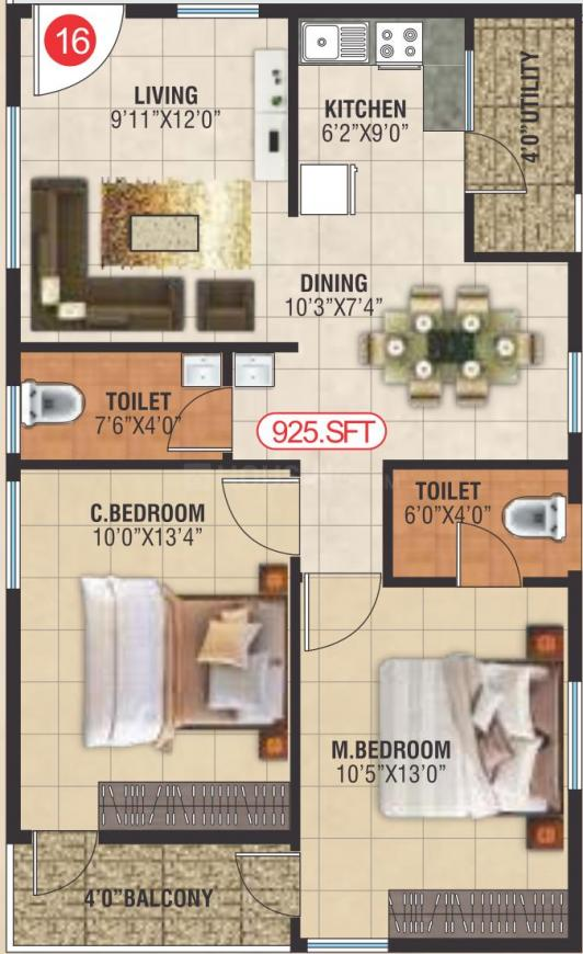 SLV Icon Floor Plan: 2 BHK Unit with Built up area of 925 sq.ft 1