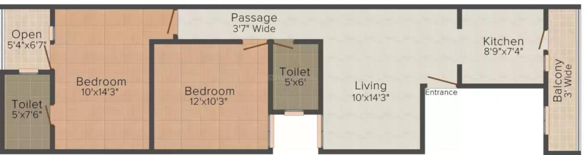 Gopal Ji Real Estate Gali No 1 Floor Plan: 2 BHK Unit with Built up area of 900 sq.ft 1