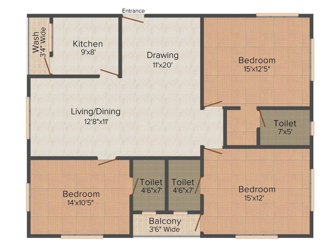 Floor Plan Image of 1475 - 1560 Sq.ft 3 BHK Apartment for buy in Shamshiri The Premia