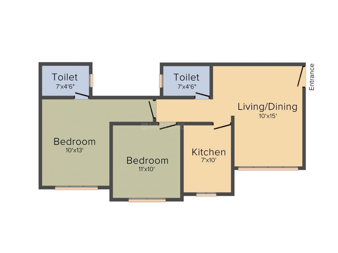 Floor Plan Image of 612 - 930 Sq.ft 2 BHK Apartment for buy in Nirmal US Open