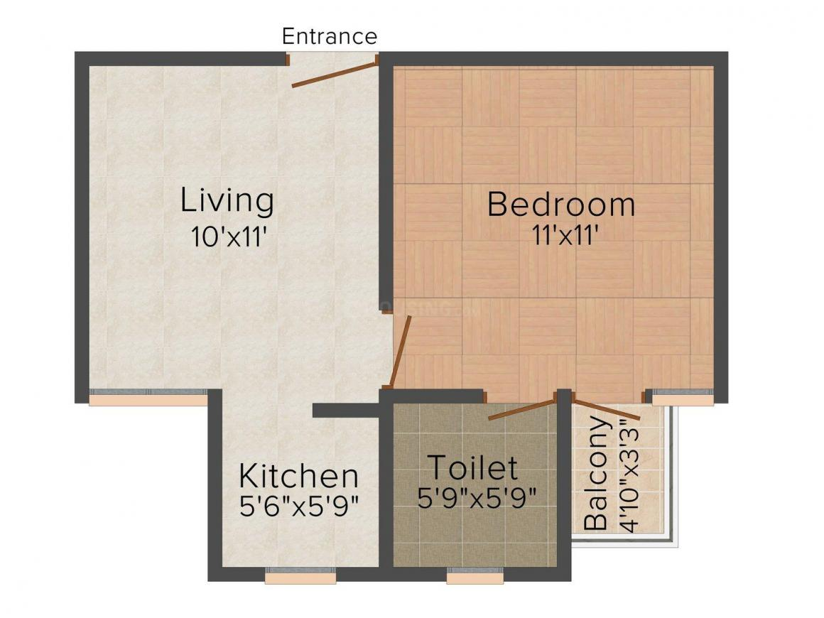 Sanskar Homes - 20 Floor Plan: 1 BHK Unit with Built up area of 450 sq.ft 1