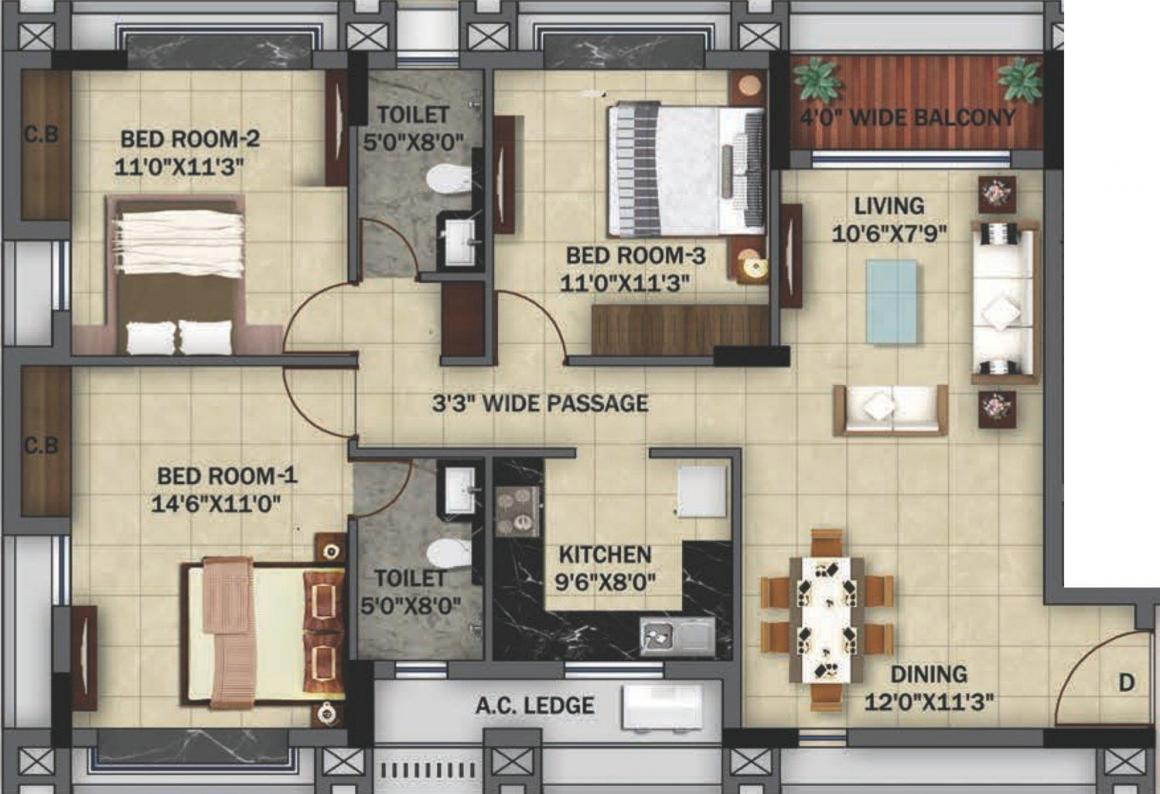 Orbit Ashwa Floor Plan: 3 BHK Unit with Built up area of 1435 sq.ft 1