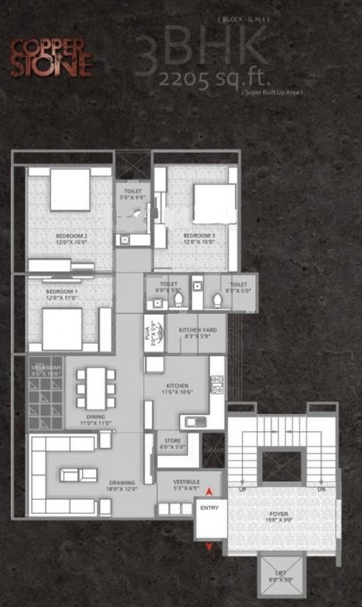 Setu Copper Stone Floor Plan: 3 BHK Unit with Built up area of 2202 sq.ft 1