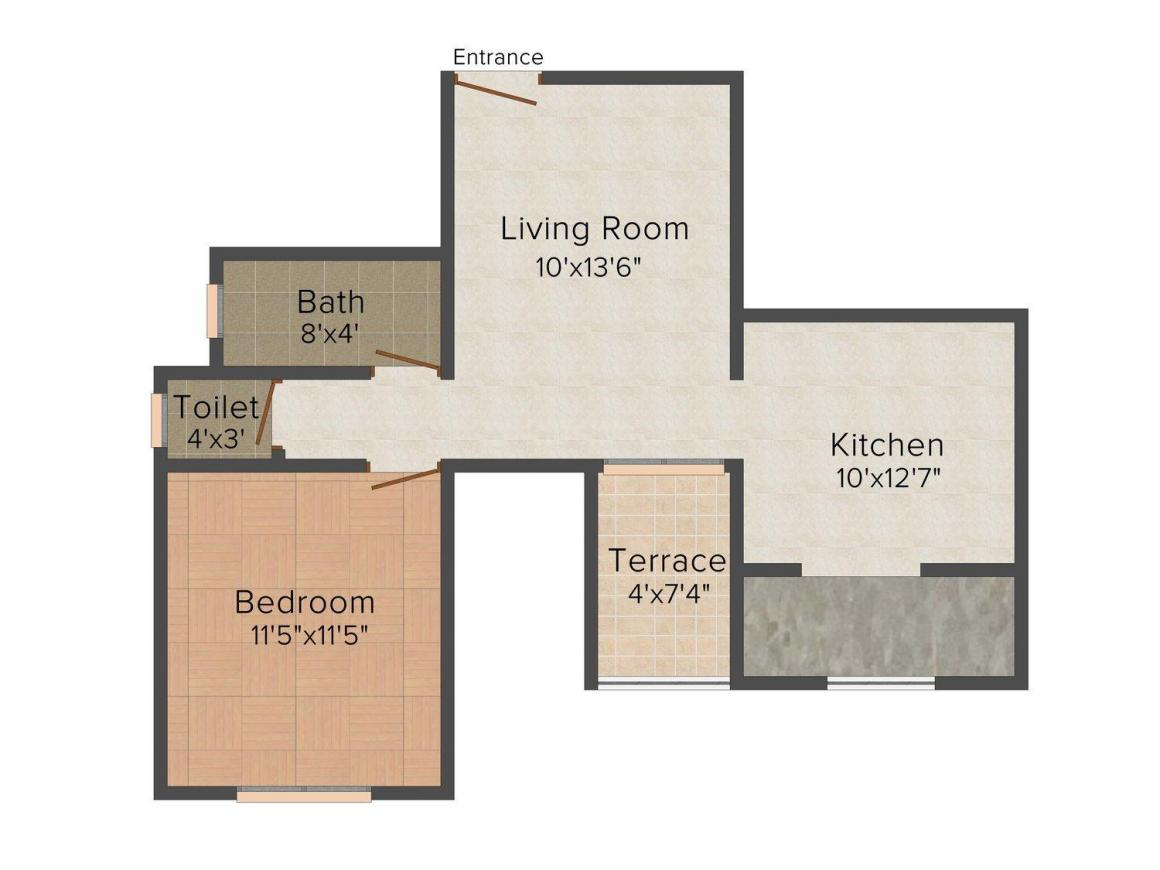 Floor Plan Image of 610.0 - 990.0 Sq.ft 1 BHK Apartment for buy in Space Shiv Nayan Park
