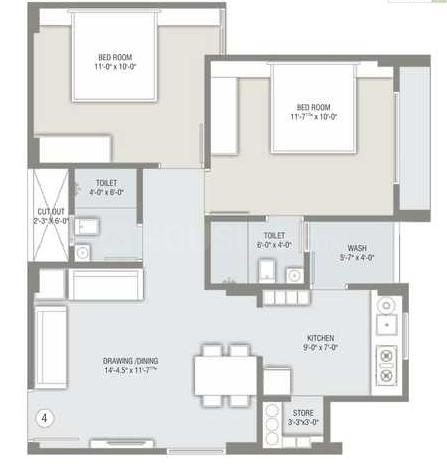 Sun Suryansh Solitaire Floor Plan: 2 BHK Unit with Built up area of 972 sq.ft 1
