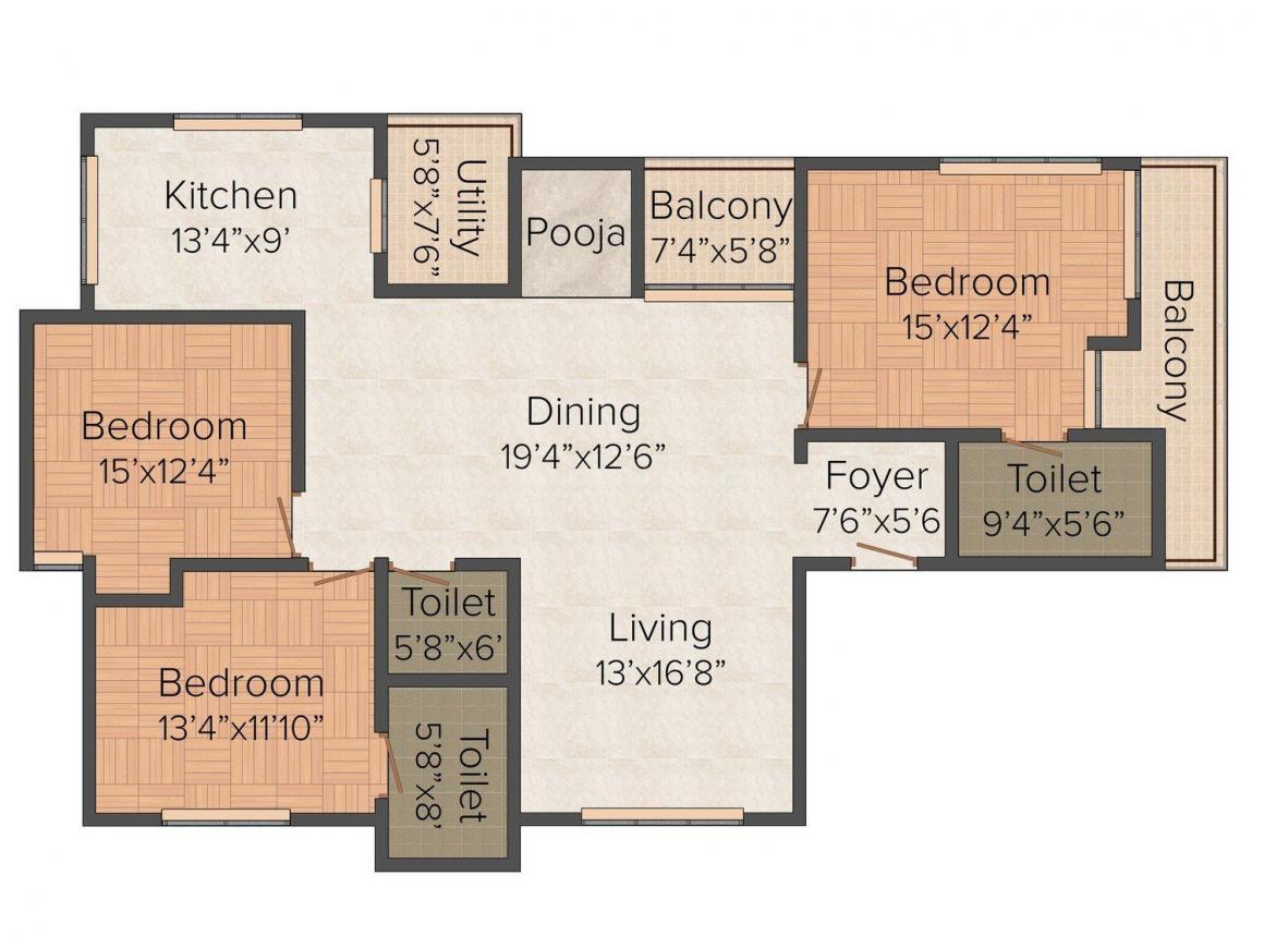 Floor Plan Image of 1907 - 1973 Sq.ft 3 BHK Apartment for buy in Vikram Mallige