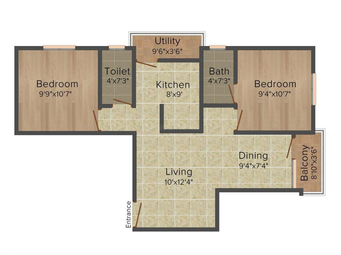 Floor Plan Image of 250.0 - 870.0 Sq.ft 1 BHK Apartment for buy in Patson Star