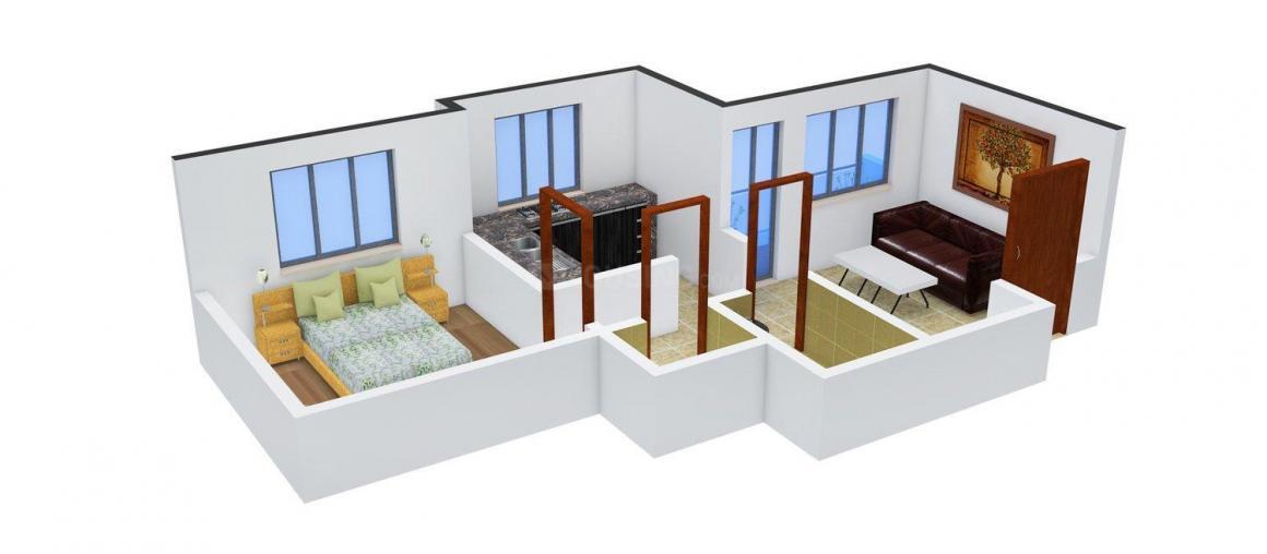 Floor Plan Image of 0 - 565.0 Sq.ft 1 BHK Apartment for buy in Saket Oyster Saket City