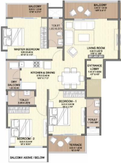 Ams Swaroop Enclave Floor Plan: 3 BHK Unit with Built up area of 842 sq.ft 1