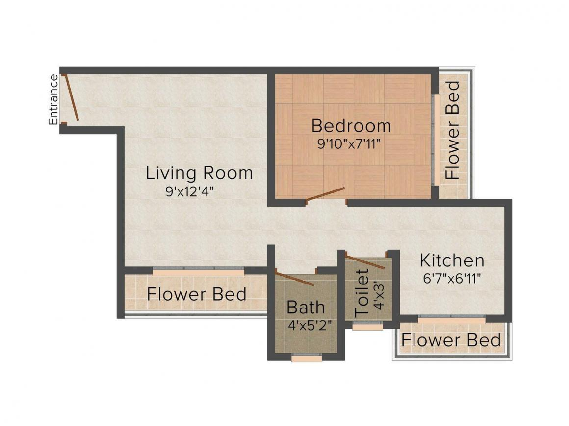 Floor Plan Image of 515.0 - 652.0 Sq.ft 1 BHK Apartment for buy in Shree Balaji Varad Vinayak Complex