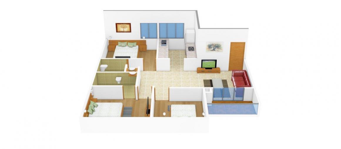 Floor Plan Image of 0 - 1000.0 Sq.ft 3 BHK Apartment for buy in Yuvraj Chavan Snehraj