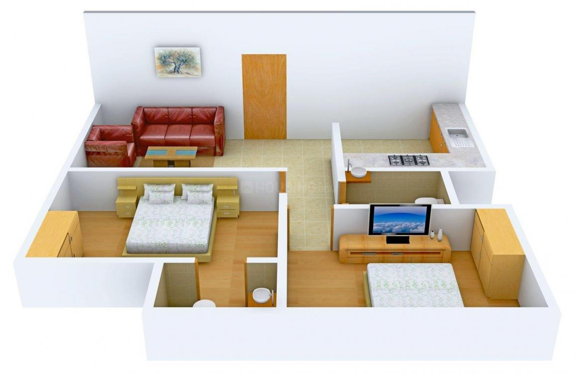 Floor Plan Image of 542 - 578 Sq.ft 2 BHK Apartment for buy in KT Padma Kailash