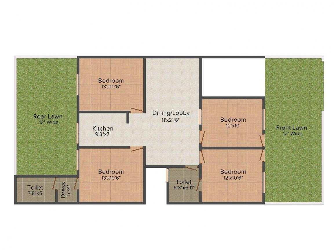 Lovely Builder Floor - 4 Floor Plan: 3 BHK Unit with Built up area of 1800 sq.ft 1