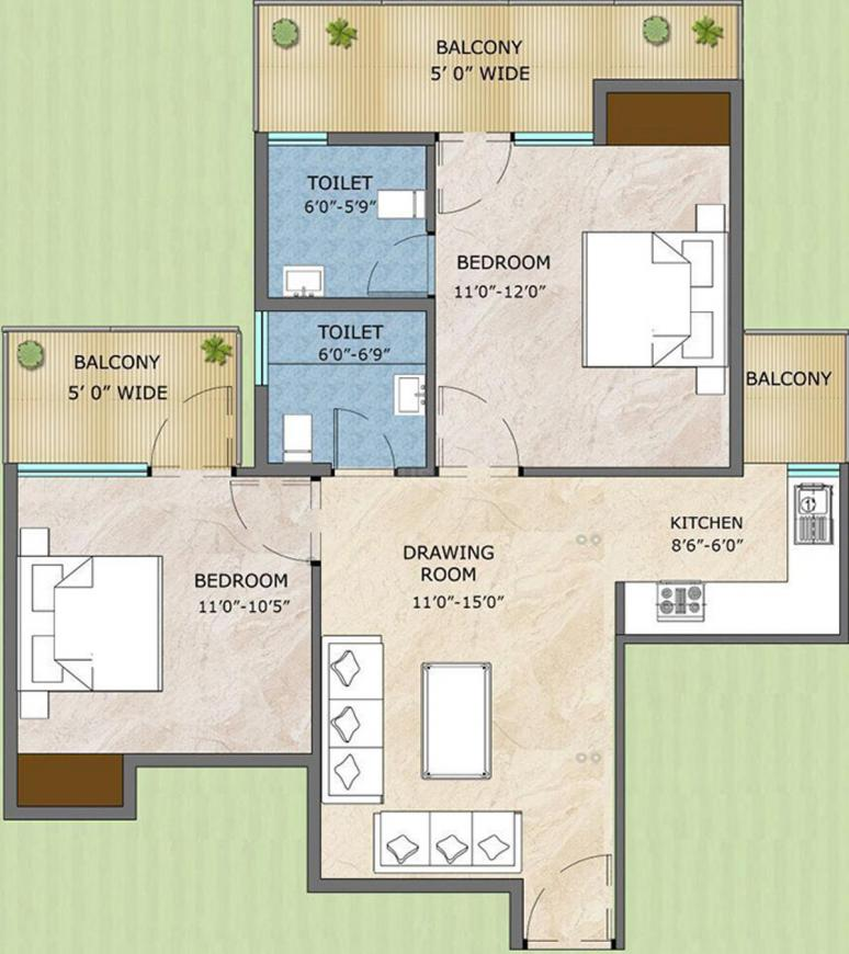 Adore Samriddhi Floor Plan: 2 BHK Unit with Built up area of 570 sq.ft 1