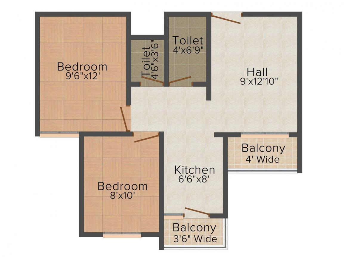 Floor Plan Image of 690.0 - 1176.0 Sq.ft 2 BHK Apartment for buy in Ishant Anugrah Residency