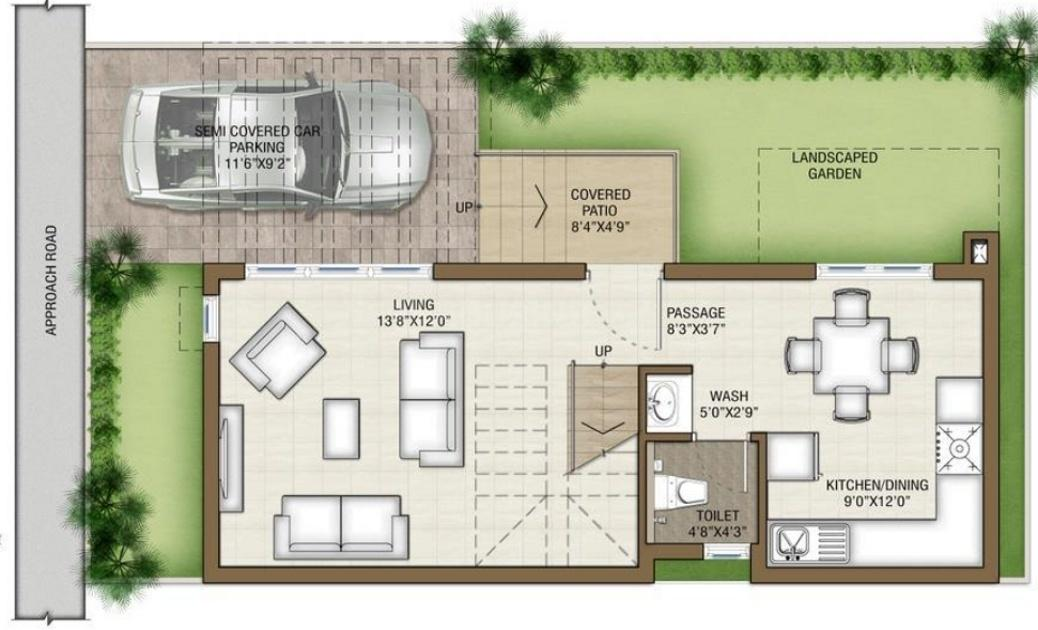Prestige Silver Springs Floor Plan: 2 BHK Unit with Built up area of 1166 sq.ft 1