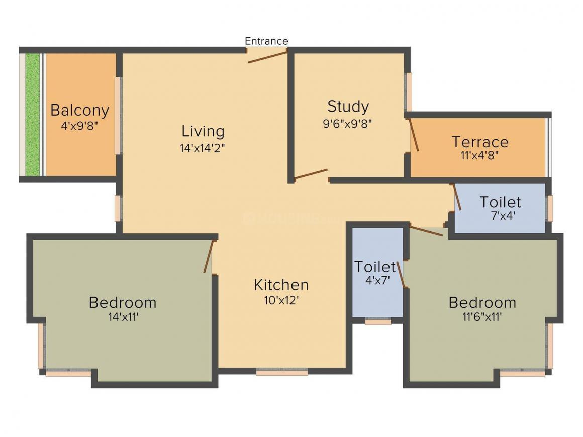 Ravetkar Anusha Residency Floor Plan: 3 BHK Unit with Built up area of 1170 sq.ft 1
