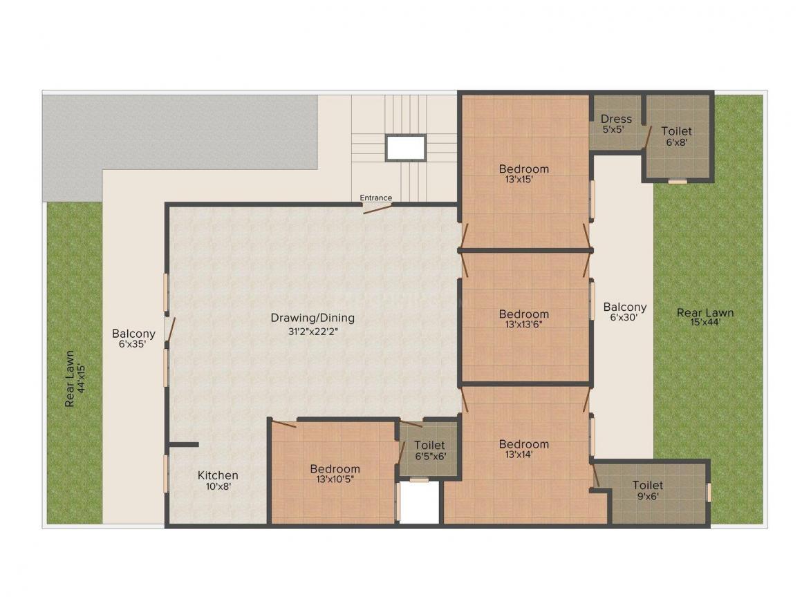 Gupta Floors 4 Floor Plan: 4 BHK Unit with Built up area of 1900 sq.ft 1