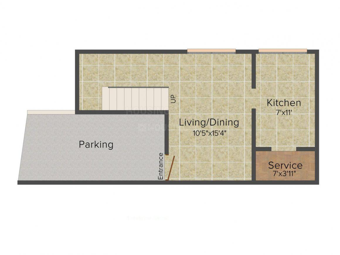 Arham Harmony Floor Plan: 2 BHK Unit with Built up area of 1105 sq.ft 4
