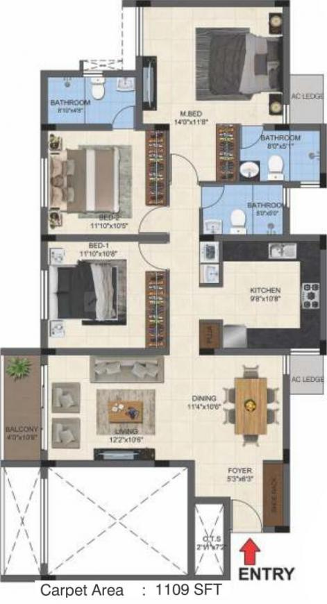 Casagrand Primera Floor Plan: 3 BHK Unit with Built up area of 1557 sq.ft 1