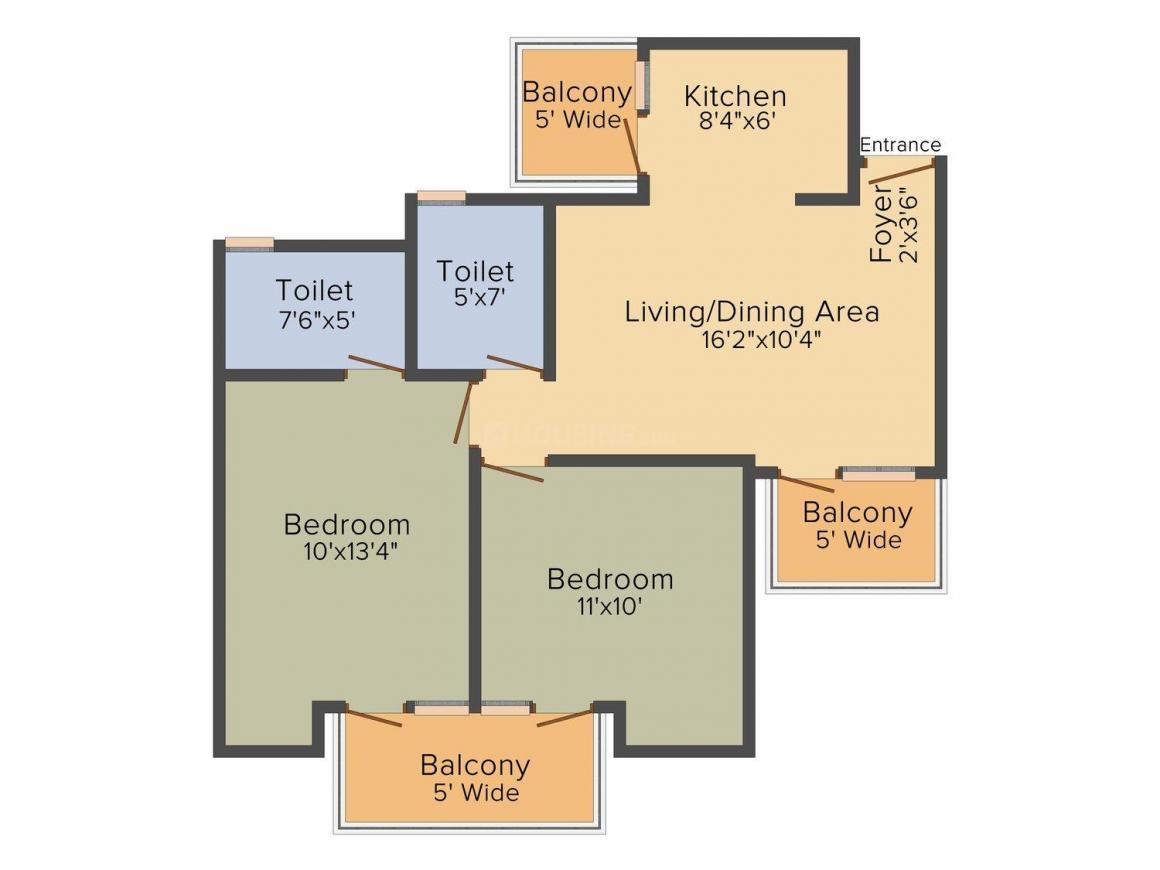 Panchsheel Premium 24 Floor Plan: 2 BHK Unit with Built up area of 1037 sq.ft 1