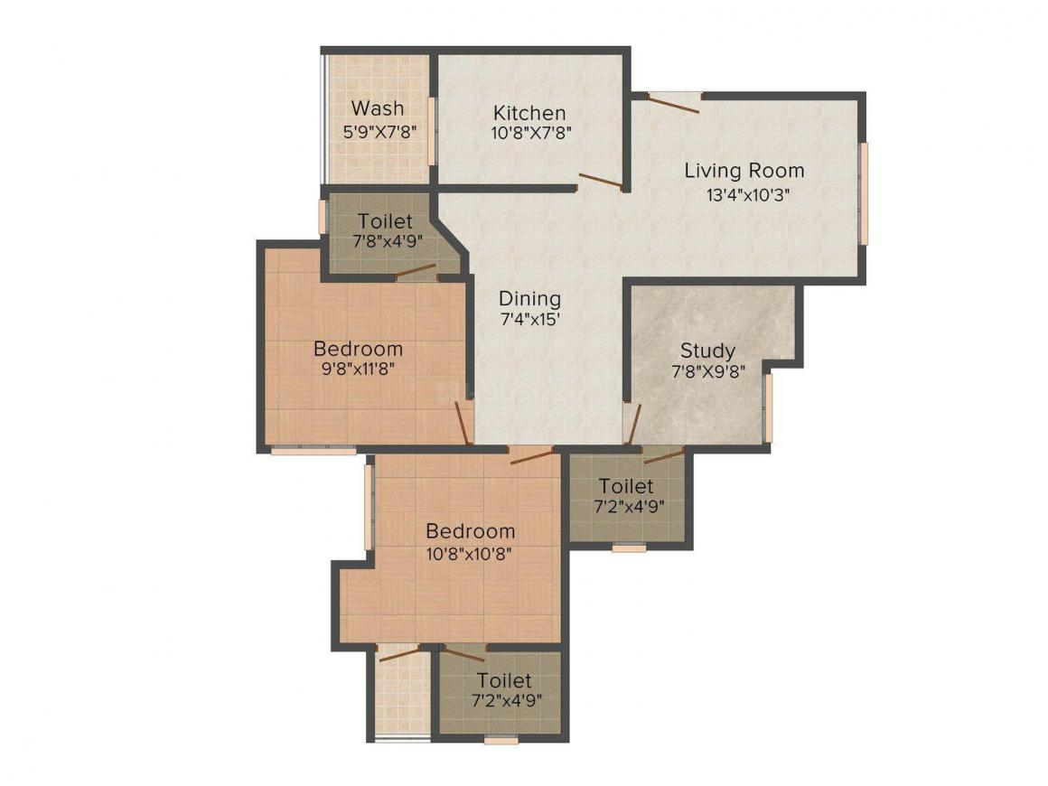 Infra Proxim Floor Plan: 2 BHK Unit with Built up area of 1219 sq.ft 1