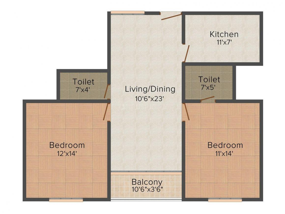 Zait White Fields Floor Plan: 2 BHK Unit with Built up area of 1170 sq.ft 1