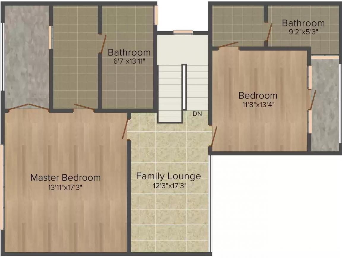 Unitech Espace Floor Plan: 3 BHK Unit with Built up area of 2928 sq.ft 2