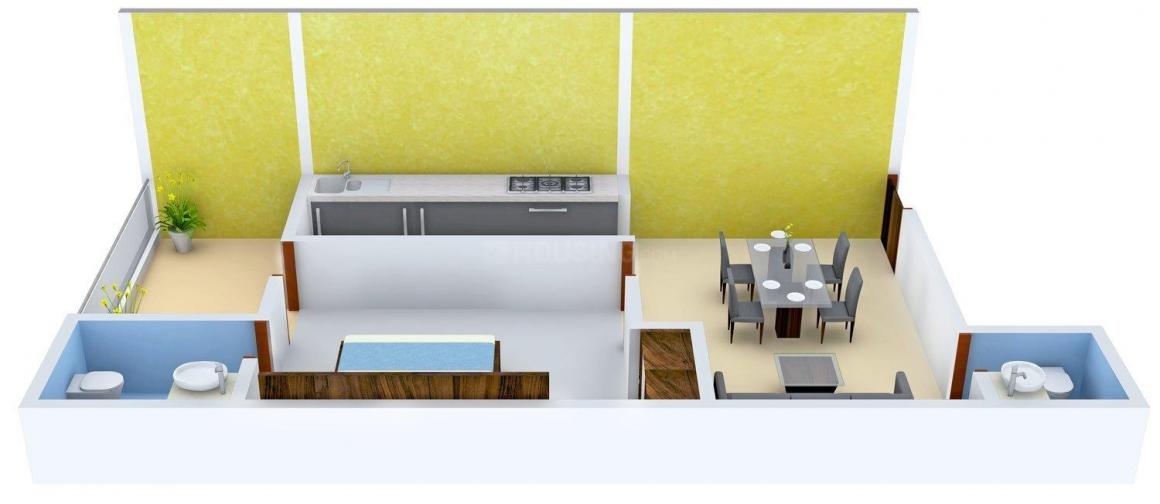 Nirmal Greens-II Floor Plan: 1 BHK Unit with Built up area of 803 sq.ft 1