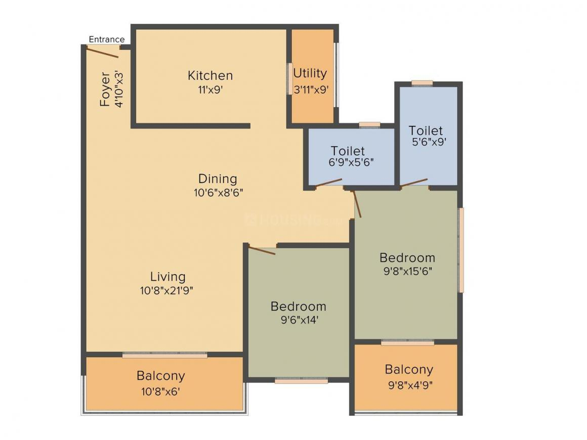 Floor Plan Image of 1120 - 1650 Sq.ft 2 BHK Apartment for buy in RS Lakeview