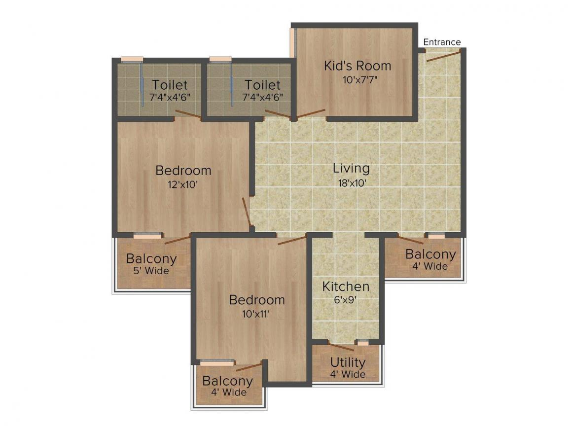 Floor Plan Image of 935 - 1290 Sq.ft 2 BH Apartment for buy in Mahagun Puram- Phase 2