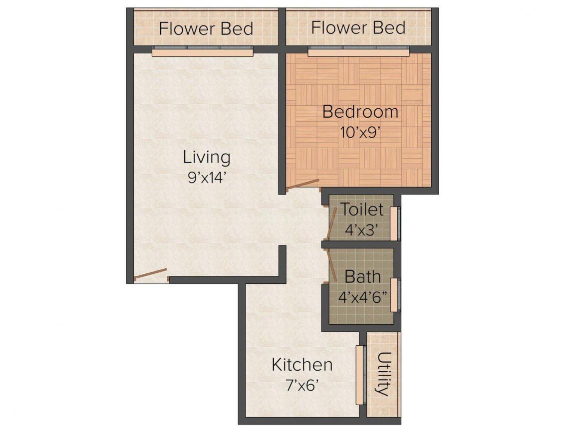 Future Jalaram Park Floor Plan: 1 BHK Unit with Built up area of 615 sq.ft 1